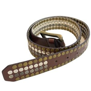 SONOMA Brown Leather Studded Belt 38 Inch - Small